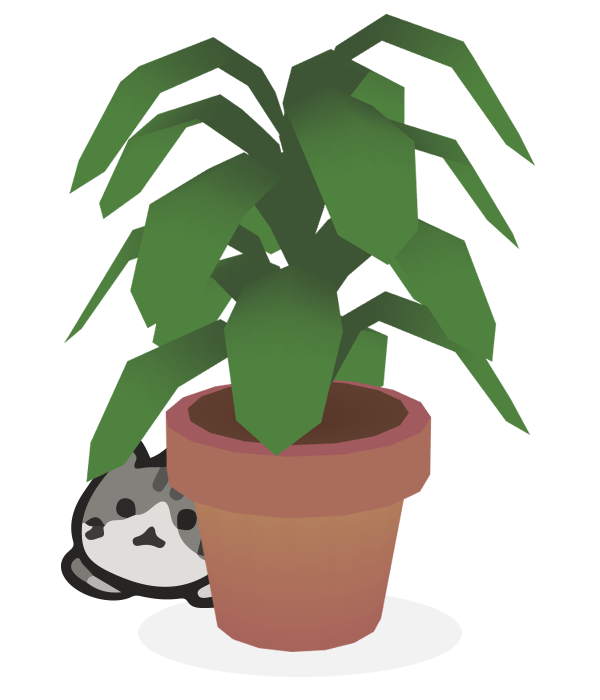 Kitty hiding behind plant